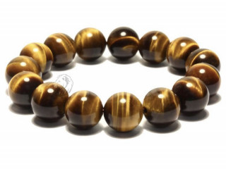 Minimalist Natural Stone Beads Tiger Eye Bracelet 12mm